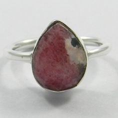 Solid 925 Sterling Silver Natural Rhodonite Gemstone 10x12mm Pear Handmade Ring #magicalcollection #sterlingsilver #silver #rings #rhodonite