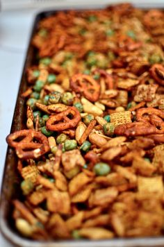 Thai Peanut Chex Mix Snack.  Love Thai wasabi peas, love chex mix...  What's not to like??