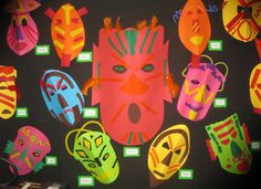 A super African Masks classroom display photo contribution. Great ideas for your classroom! African Theme, African Masks, African Safari, School Displays, Classroom Displays, Classroom Themes, Vbs Crafts, Camping Crafts, Ghana Art