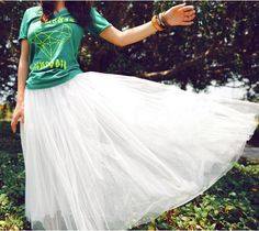 White Black Spring Summer Fairy Stunning Ballet Tutu Full Long Tulle Skirt Dress | eBay