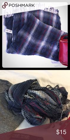 👁 24 x 66 red/white/blue plaid scarf w/fringe Great for fall/winter fashions! Very good condition! Couple of small snags not noticeable Accessories Scarves & Wraps
