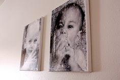 distressed canvas pictures using gel medium and images printed from a laser jet printer onto regular 20# paper .... boutique style canvases for cheap!!