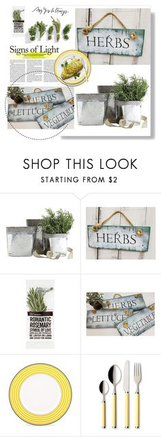 Love growing fresh herbs!  Check out these beautiful rustic garden signs! gardening by theworldisatourfeet on Polyvore featuring interior, interiors, interior design, home, home decor, interior decorating, Kate Spade, Villeroy & Boch, Ballard Designs and polyvoreeditorial