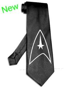 star trek logo tie satin silk BLACK necktie Silver Image