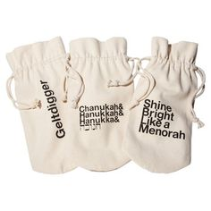 Hanukkah Wine Bag Set Of 3, $18, now featured on Fab.