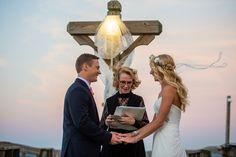Outer Banks Wedding at Kitty Hawk Pier by Daniel Pullen Photography | Floral by Flower Girls #OBX #destinationwedding #flowercrown #bouquet