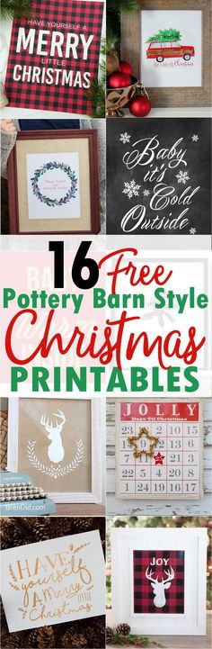 16 free pottery barn knock off christmas printables