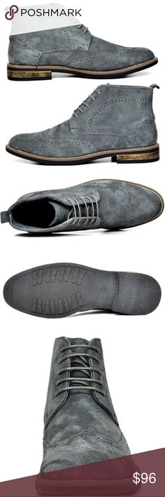 "Mens Bruno Urban Suede Leather Lace Up Oxford Boot NWT New  Men's Classic Modern Oxfords Desert Boots Color: Grey Gray  Features:  Premium Suede Leather Lace-up front closure Durable Sole  Plain-toe Chukka boot Platform measures approx 0.5"" Heel height 1"" approx  Non Skid outsole  @alexambrands ALexam Shoes Chukka Boots"