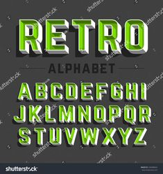 Find Retro Style Alphabet Vector Illustration stock images in HD and millions of other royalty-free stock photos, illustrations and vectors in the Shutterstock collection. Thousands of new, high-quality pictures added every day. Graffiti Lettering Fonts, Typography Alphabet, Hand Lettering Fonts, Types Of Lettering, Typography Fonts, Brush Lettering, Lettering Design, Aesthetic Fonts, Letter Wall Art