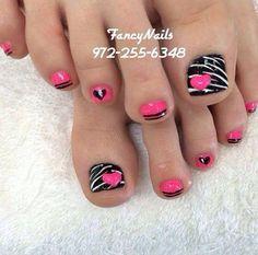 Image viaToenail DesignsImage viaCool & Pretty Toe Nail Art Designs & Ideas For Beginners .Image via Pretty Toe Nail Art D Pedicure Nail Art, Manicure E Pedicure, Toe Nail Art, Pedicure Ideas, Hot Pink Pedicure, Cute Pedicure Designs, Mani Pedi, Cute Toe Nails, Nail Tutorials