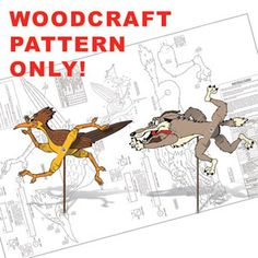 "Roadrunner & Coyote Whirligig DIY Woodcraft Pattern #1955 - The classic chase is on in your yard for all to enjoy! Full-size, easy-to-follow patterns. Largest is 9""H x 21""W x 8""D. 2 Designs! Pattern by Sherwood Creations #woodworking #woodcrafts #pattern #yardart #crafts #whirligig #roadrunner #coyote"