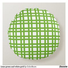 Lime green and white grid round pillow Soft Pillows, Throw Pillows, Green Cushions, Round Pillow, Decorative Cushions, Soft Fabrics, Grid, Vibrant Colors, Lime