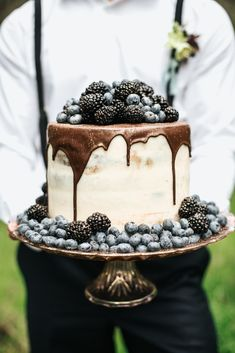 Berry and Chocolate Drip Wedding Cake