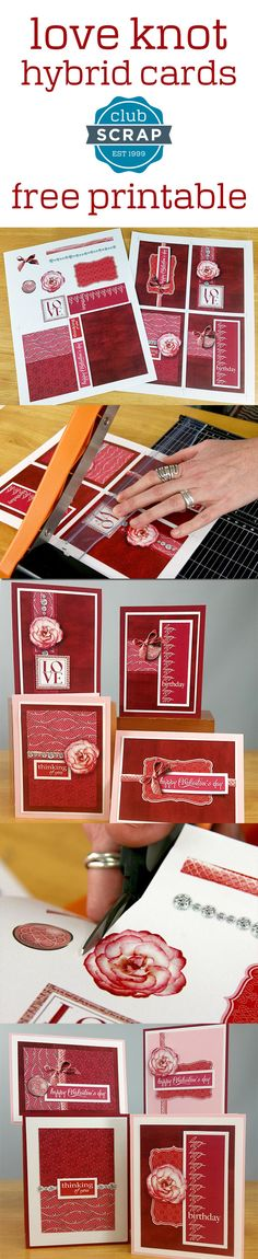 Love Knot | Club Scrap -- free printable card panels! #freebie #valentinesday