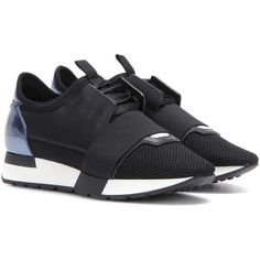 Balenciaga Race Runner Leather and Fabric Sneakers (40.275 RUB) ❤ liked on Polyvore featuring shoes, sneakers, black, real leather shoes, black trainers, leather sneakers, leather trainers and balenciaga