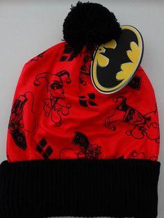 4d35215608a Harley Quinn Logo Batman Dc Comics Pom Knit Cuff Beanie Hat Nwt