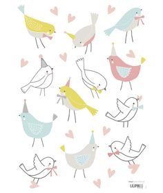 Stickers oiseaux Sweet Bunnies by Flora Waycott x 42 cm), Lilipinso. Stickers animaux de la collection Sweet Bunnies by Flora Waycott - Le sticker Vogel Illustration, Cute Illustration, Kids Patterns, Print Patterns, Baby Boy Rooms, Baby Room, Bird Doodle, Design Blog, Pretty Birds