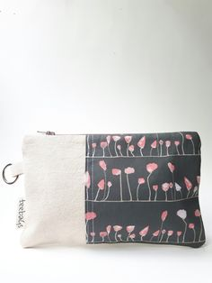 Custom made zipper pouch with canvas and designer cotton by Teebags.