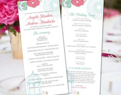 DIY Printable Wedding Program Template - DOWNLOAD Instantly -Edit Yourself - Editable Text  Colorful Flower- Microsoft Word Format : wg0003