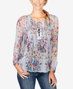 Lucky Brand Sheer Pintucked Blouse