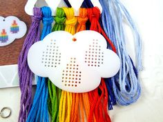Cross stitch pendant blank Raincloud in white by Beadeux on Etsy, $8.00