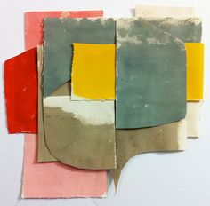 A-M Gallery - INGA #DALRYMPLE, Fabric Collage #5, Acrylic on Canvas, 13.5cm x 19cm,  2011