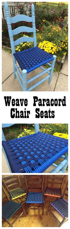 Hack old chairs with Paracord! This is a fun project which will add a pop of color to your home. Réparation Chaise, Old Chairs, Outdoor Chairs, Patio Chairs, Paracord Weaves, Paracord Knots, Paracord Bracelets, Pvc Pipe Furniture, Furniture Projects