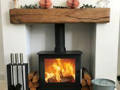 Floating Mantel, Pine Shelves, Rustic Floating Shelves, Wood Burner Fireplace, Fireplace Mantle, Gas Stove Fireplace, Inglenook Fireplace, Breeze Block Wall, Oak Mantel
