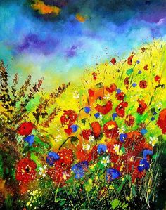 """Saatchi Online Artist: Pol Ledent; Oil, 2013, Painting """"field flowers """" it reminds me of fields in Lipnica, Poland at Dziadzius house with cornflowers and field poppy flowers  Stunning!"""