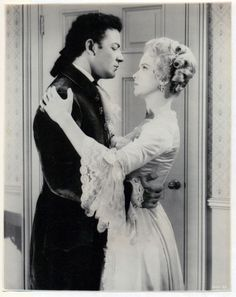 """loveless422: """"Cornel Wilde and Anne Francis in The Scarlet Coat (1955). """""""