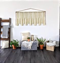 Modern macrame wall hanging/Large macrame wall hanging/large woven wall hanging/large yarn wall hanging/large yarn tapestry Large Macrame Wall Hanging, Yarn Wall Hanging, Wall Hangings, Jute Twine, Black Decor, Large Wall Art, Wall Spaces, Wooden Beads, Tapestry