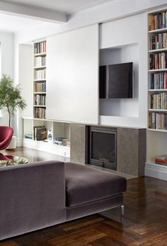 A great way to conceal the T.V. Photo by Ty Cole. James Wagman Architect, LLC.