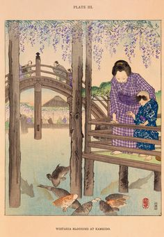 Illustration of people in traditional dress feeding ornamental carp in a Japanese garden underneath purple Wisteria blossom. Creator  Conder, Josiah (1852-1920) (Author) Date  1892
