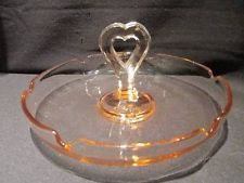 Pink Depression Glass Vintage Tidbit Tray with Heart Shaped Handle