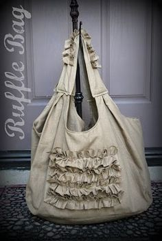 A DIY ruffle bag made by The Little Appleseed. No tutorial but it is for sale on Etsy. I like it because it looks big and roomy.