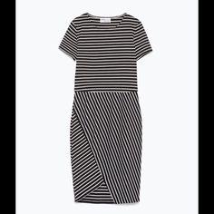 Zara pinstripe asymmetric dress Black pinstripe asymmetrical bodycon dress. Size S. Brand new. PRICE IS FIRM! ❤️ Zara Dresses Asymmetrical
