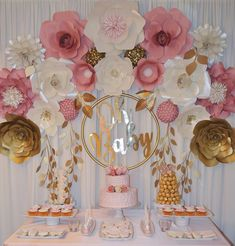 Oh Baby! Pretty pink and gold flower wall set up for baby shower Ottawa Ontario Baby Shower Desserts, Baby Shower Parties, Baby Shower Themes, Baby Shower Decorations, Shower Ideas, Paper Flower Decor, Paper Flowers, Cumpleaños Shabby Chic, Baby Shower Backdrop