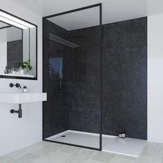 SHOP the Multipanel Classic Riven Slate Bathroom Wall Panel at Victorian Plumbing UK Shower Wall Panels, Bathroom Style, Classic Bathroom, Slate Wall, Waterproof Bathroom Wall Panels, White Paneling, Mold In Bathroom, Slate Bathroom, Bathroom Wall Panels