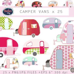 Campervan clip art CAMPER VANS Retro clip art Retro by SurfaceHug, $3.00