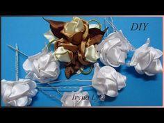 РОЗЫ из ленты 5 см, шпилька, резинка канзаши своими руками, МК, Rose From Satin Ribbon, Kanzashi - YouTube