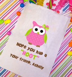 Owl Birthday Party Bags Candy Bags Goody by TheTrendyButterfly,