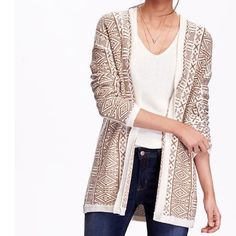 Amazing Beige Oversized Cardigan Must Have for transitioning into the new season! ❤️This sweater is so beautiful with the fair isle pattern. Thick, long sleeve, falls below the waist. Brand new with tags. Amazing quality. Old Navy Sweaters Cardigans
