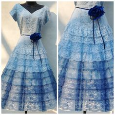 Blue Lace Prom Gown Ruffled Skirt Sweetheart Neck by modernmatters, $145.00