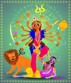 Illustration of Goddess Durga for Navaratri (Happy Dussehra) — Stock Illustration Free Vector Images, Vector Free, Maa Kali Images, Durga Goddess, Free Illustrations, Cartoon Images, Birds In Flight, How To Draw Hands, Religion