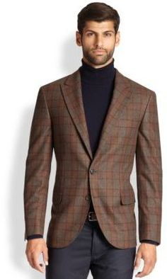 Brown Gingham Wool Blazer by Brunello Cucinelli. Buy for $2,517 from Saks Fifth Avenue