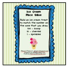 Pitner's Potpourri: Ice Cream Place Value -- Freebie Classroom Freebies, Math Classroom, Classroom Ideas, Future Classroom, Math Place Value, Place Values, Math Resources, Math Activities, Educational Activities