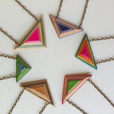 Skateboard Necklace Triangle Shard - by Deadwood Creative. Made using broken skateboard decks. Fun colourful recycled jewellery.