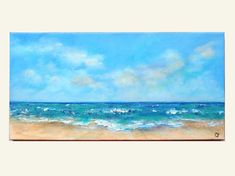 Pintura arte de playa horizontal largo 12 x 24 de la playa.
