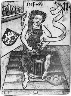 A picture of a female potter (Hefneryn) operating a foot driven potter's wheel in the mid-1400's. This picture comes from a Hapsburg Court playing card. Note that she is making the corrugated surface on the body of a German funnel necked stoneware jug of which was common in this period. She is probably using a bone to do this; perhaps a cow's metapodial bone.