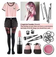 """Pastel Goth #18"" by neverlandcth ❤ liked on Polyvore featuring T.U.K., Leg Avenue, MAC Cosmetics, River Island, BOBBY, KEEP ME and Monki"